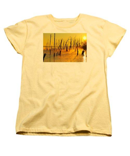 Sunrise Fog Shadows Women's T-Shirt (Standard Cut) by Roger Becker