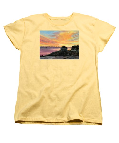 Sunrise Long Beach Rockport Ma Women's T-Shirt (Standard Cut) by Eileen Patten Oliver