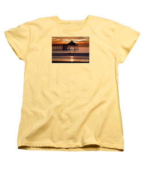 Sunset At Ib Pier Women's T-Shirt (Standard Cut) by Barbie Corbett-Newmin