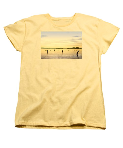 Women's T-Shirt (Standard Cut) featuring the photograph Sunset At Lake Muskoka by Les Palenik