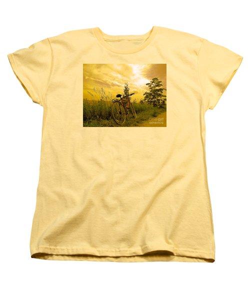 Sunset Biking Women's T-Shirt (Standard Cut) by Nina Silver