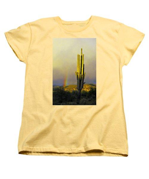 Women's T-Shirt (Standard Cut) featuring the photograph Sunset Rainbow Cactus by John Haldane