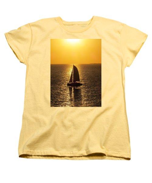 Women's T-Shirt (Standard Cut) featuring the photograph Sunset Sail by Jennifer Wheatley Wolf