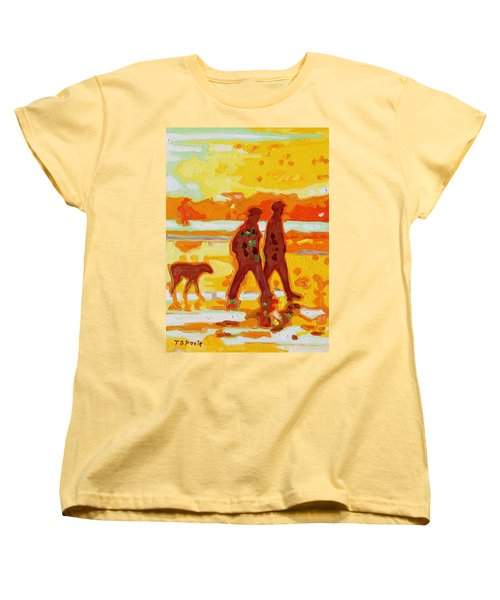 Sunset Silhouette Carmel Beach With Dog Women's T-Shirt (Standard Cut) by Thomas Bertram POOLE