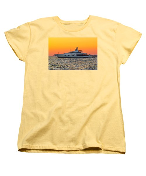 Superyacht On Yellow Sunset View Women's T-Shirt (Standard Cut) by Brch Photography