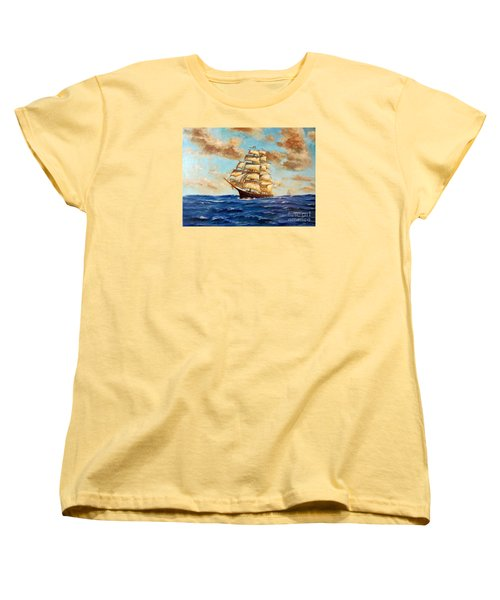 Tall Ship On The South Sea Women's T-Shirt (Standard Cut) by Lee Piper