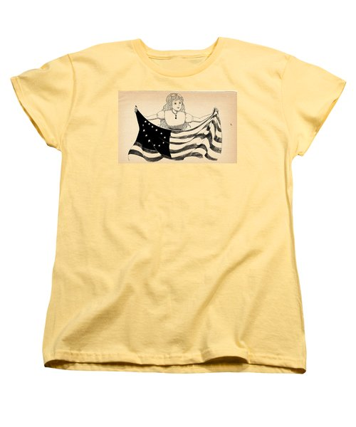 Women's T-Shirt (Standard Cut) featuring the drawing Tammy And The Flag by Reynold Jay