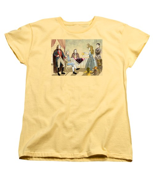 Women's T-Shirt (Standard Cut) featuring the painting Tammy Meets Betsy Ross And George Washington by Reynold Jay