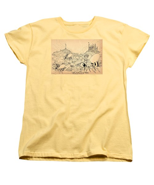 Women's T-Shirt (Standard Cut) featuring the drawing Flight Over Capira by Reynold Jay