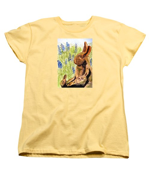 Women's T-Shirt (Standard Cut) featuring the painting Terra Cotta Bunny Family by Angela Davies