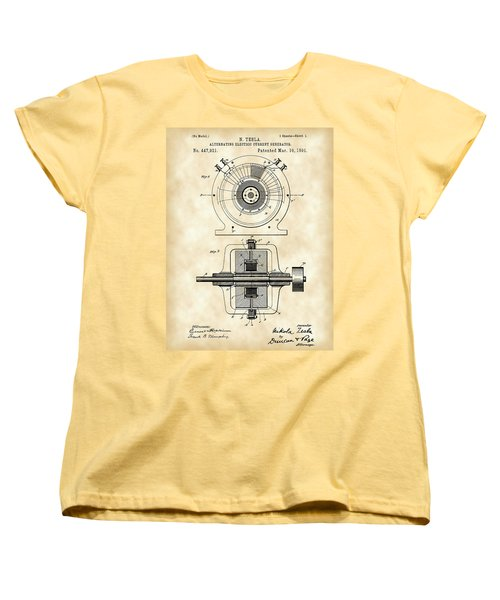 Tesla Alternating Electric Current Generator Patent 1891 - Vintage Women's T-Shirt (Standard Cut) by Stephen Younts