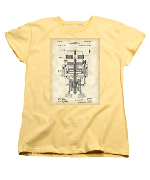 Tesla Electric Generator Patent 1894 - Vintage Women's T-Shirt (Standard Cut) by Stephen Younts