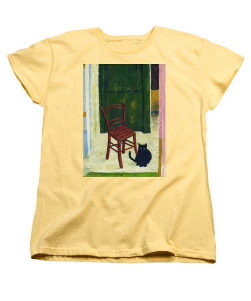 Women's T-Shirt (Standard Cut) featuring the painting The  Black Cat by Hartmut Jager
