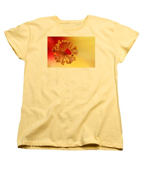 Women's T-Shirt (Standard Cut) featuring the photograph The Center Of The Hibiscus Flower by Debbie Oppermann
