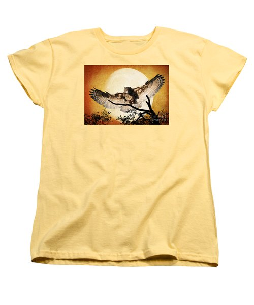 Women's T-Shirt (Standard Cut) featuring the photograph The Eurasian Eagle Owl And The Moon by Kathy Baccari
