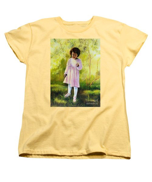 Women's T-Shirt (Standard Cut) featuring the painting The Forsythia by Marlene Book