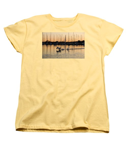 The Golden Takeoff - Swan Sunset And Yachts At A Marina In Toronto Canada Women's T-Shirt (Standard Cut)