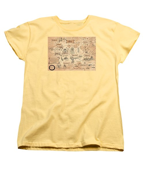 Women's T-Shirt (Standard Cut) featuring the painting The Map Of Kira by Reynold Jay