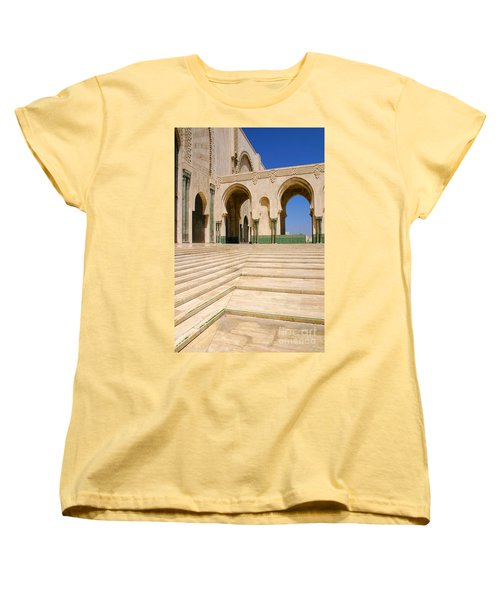 Women's T-Shirt (Standard Cut) featuring the photograph The Massive Colonnades Leading To The Hassan II Mosque Sour Jdid Casablanca Morocco by Ralph A  Ledergerber-Photography