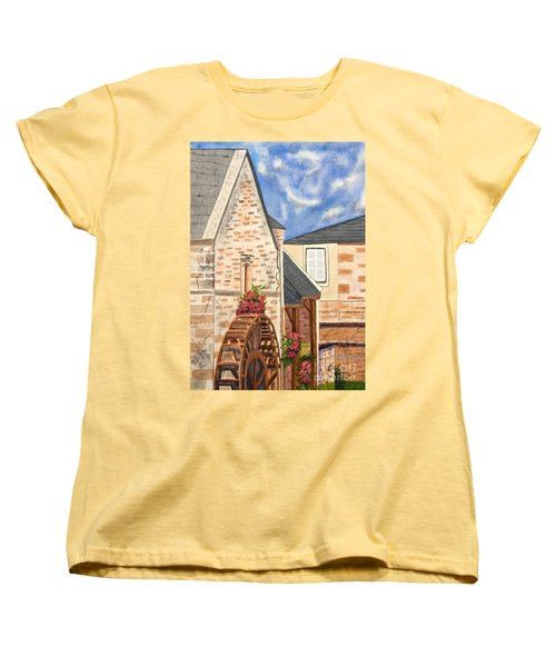 The Old French Mill Watercolor Art Prints Women's T-Shirt (Standard Cut) by Valerie Garner
