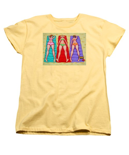Three Bathing Beauties And Buster Women's T-Shirt (Standard Cut) by Rebecca Korpita