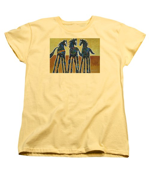Three Ponies Women's T-Shirt (Standard Cut) by Lance Headlee