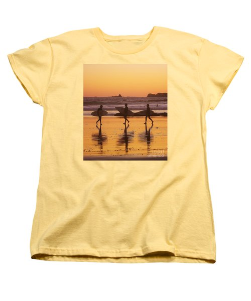 Three Surfers At Sunset Women's T-Shirt (Standard Cut) by Blair Stuart