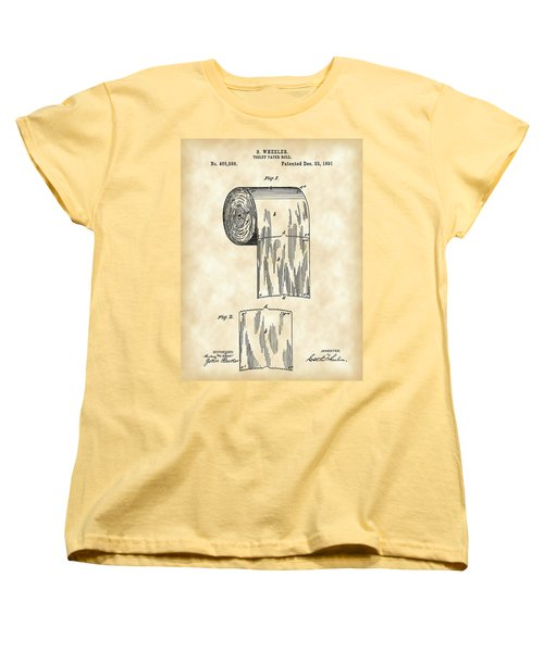Toilet Paper Roll Patent 1891 - Vintage Women's T-Shirt (Standard Cut) by Stephen Younts