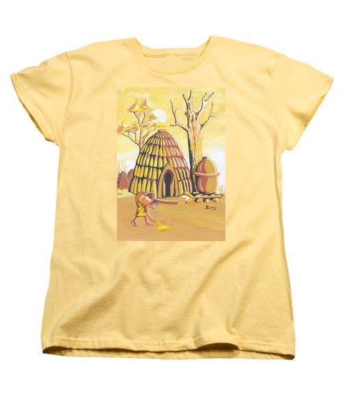 Women's T-Shirt (Standard Cut) featuring the painting Traditional House Massa Northern Cameroon by Emmanuel Baliyanga