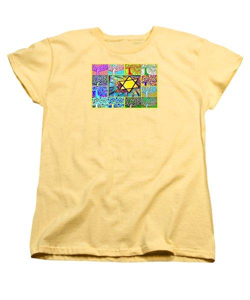 -tree Of Life Star Women's T-Shirt (Standard Cut) by Sandra Silberzweig