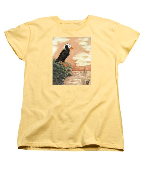 Women's T-Shirt (Standard Cut) featuring the painting Tufted Puffin At Dusk by VLee Watson