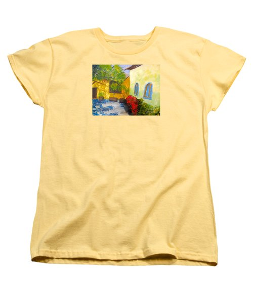 Tuscany Courtyard 2 Women's T-Shirt (Standard Cut) by Pamela  Meredith
