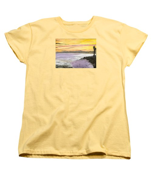 Women's T-Shirt (Standard Cut) featuring the painting Ventura Point At Sunset by Ian Donley