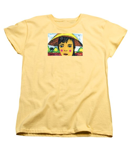 Women's T-Shirt (Standard Cut) featuring the drawing Vietnamese Girl  With Blue Eyes by Don Koester