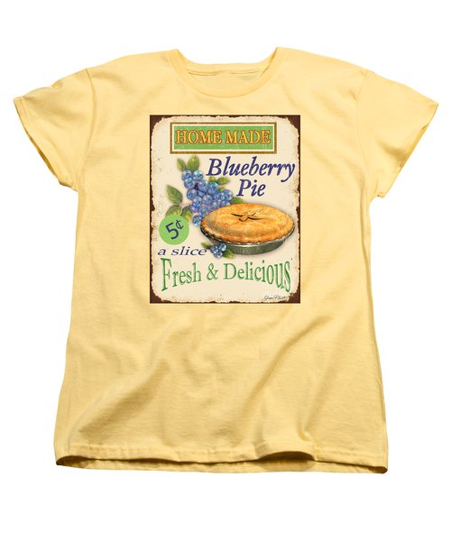Vintage Blueberry Pie Sign Women's T-Shirt (Standard Cut) by Jean Plout
