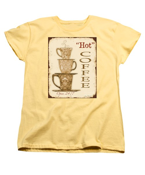 Vintage Hot Coffee Sign Women's T-Shirt (Standard Cut) by Jean Plout