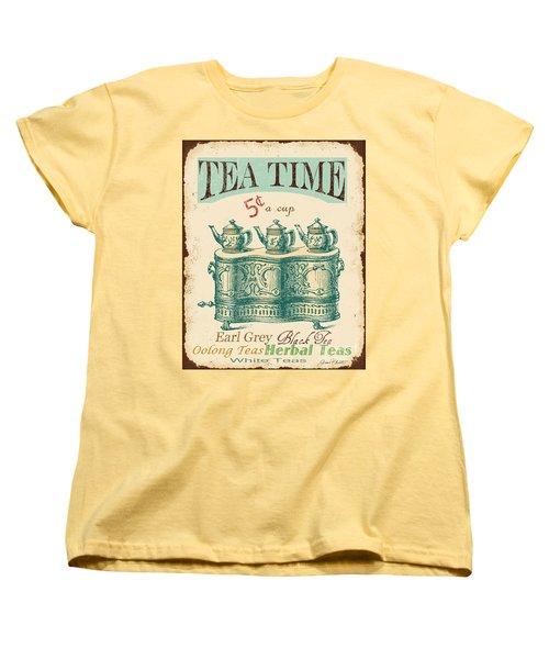 Vintage Tea Time Sign Women's T-Shirt (Standard Cut) by Jean Plout