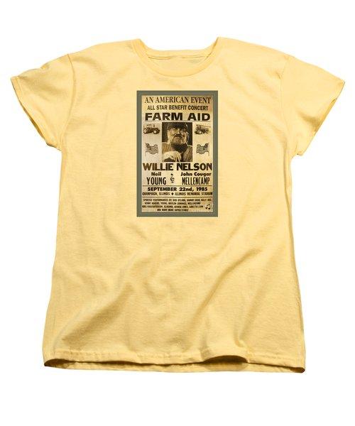 Vintage Willie Nelson 1985 Farm Aid Poster Women's T-Shirt (Standard Cut) by John Stephens