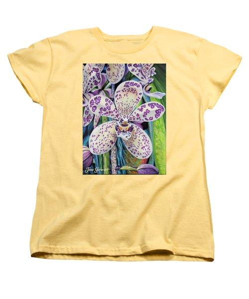 Violet Dotted Orchid Women's T-Shirt (Standard Cut)