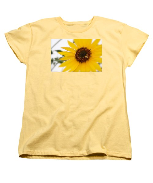 Women's T-Shirt (Standard Cut) featuring the photograph Vivid Sunflower With Bee Fine Art Nature Photography  by Jerry Cowart