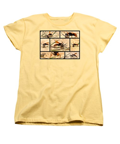 Women's T-Shirt (Standard Cut) featuring the photograph Wasp And His Kill by Miroslava Jurcik