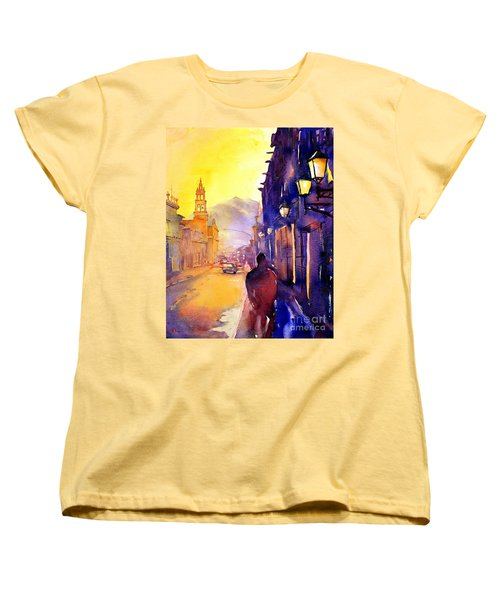 Watercolor Painting Of Street And Church Morelia Mexico Women's T-Shirt (Standard Cut) by Ryan Fox