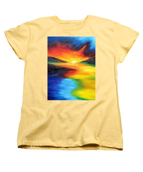 Women's T-Shirt (Standard Cut) featuring the painting Waters Of Home by Meaghan Troup