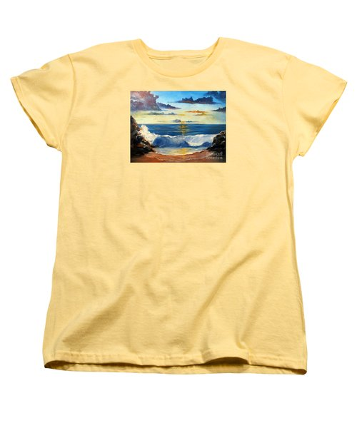 Women's T-Shirt (Standard Cut) featuring the painting West Coast Sunset by Lee Piper