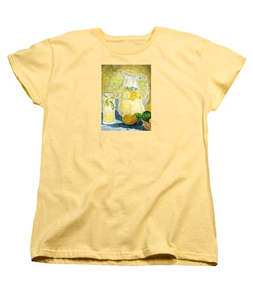 Women's T-Shirt (Standard Cut) featuring the painting When Life Gives You Lemons by Angela Davies