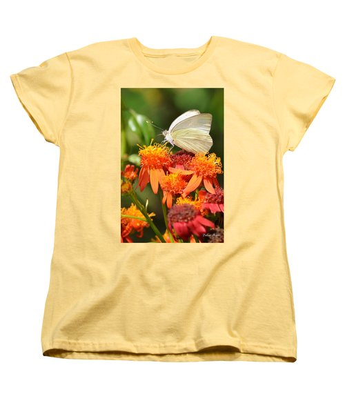 White Butterfly On Mexican Flame Women's T-Shirt (Standard Cut)