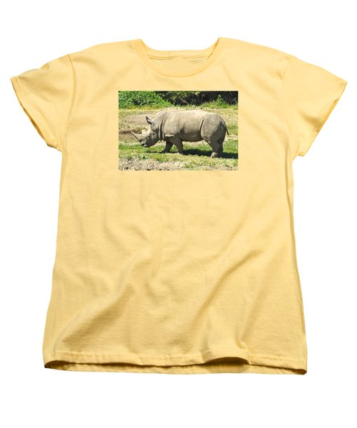 White Rhinoceros Grazing Women's T-Shirt (Standard Cut) by CML Brown