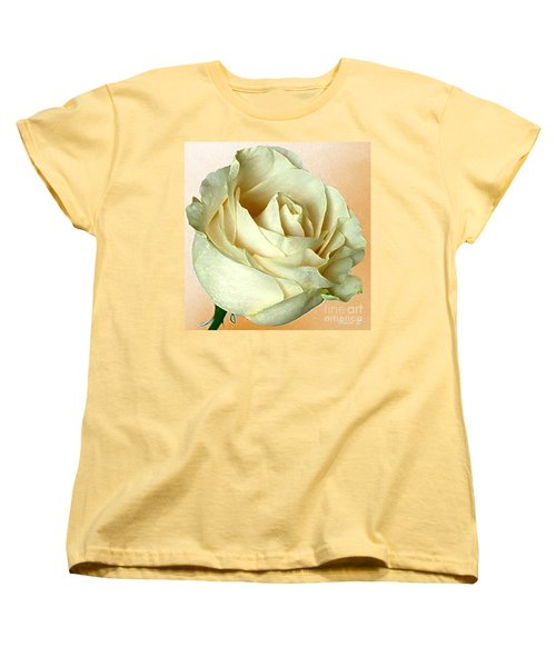 Women's T-Shirt (Standard Cut) featuring the photograph White Rose On Sepia by Nina Silver
