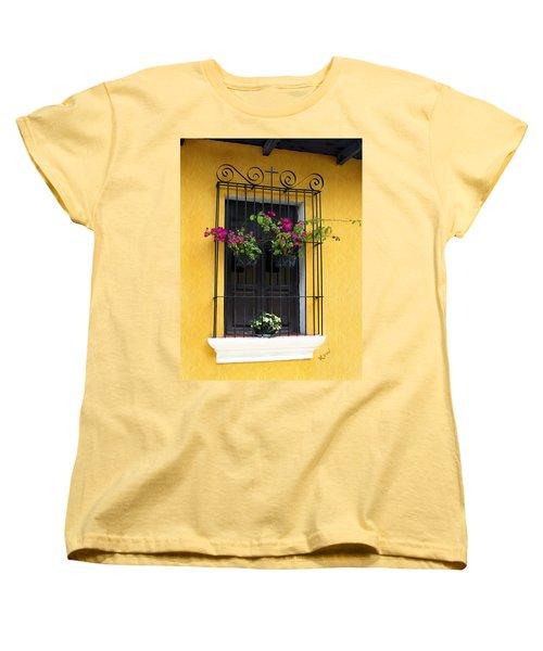 Window At Old Antigua Guatemala Women's T-Shirt (Standard Cut) by Kurt Van Wagner