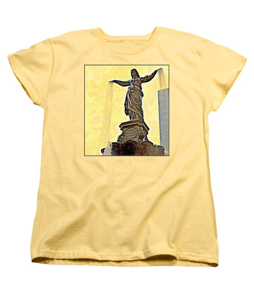 Woman And Flowing Water Sculpture At Fountain Square Women's T-Shirt (Standard Cut) by Kathy Barney